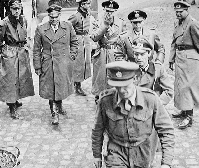 German officers arrive at 21st Army Group HQ asking for surrender terms, 3 May 1945 (Crown)