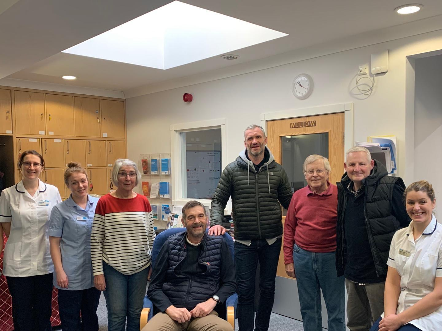 Leeds Rhinos legend Jamie Peacock visits Wheatfields to chat with palliative care patients about exercise