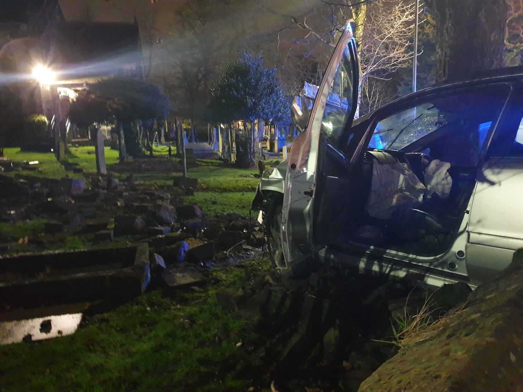 Drink driver destroys headstones after plowing into graveyard