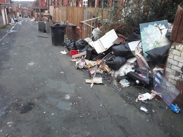 Stock photo of fly tipping on Milan Road in Harehills. Photo provided by Clean Leeds, run by Leeds Council.