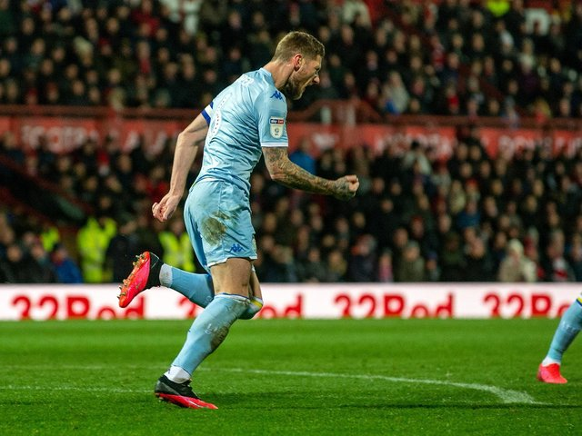 Liam Cooper's first goal of the season was oh so timely for Leeds United at Brentford (Pic: Bruce Rollinson)