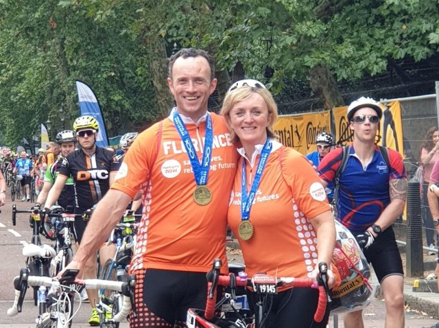 Karl Birch and sister Angela Cooper at the Ride London bike ride for Meningitis Now in August 2019
