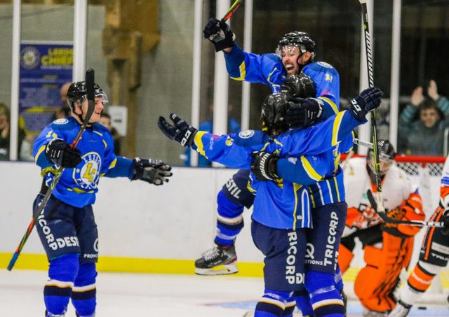 Leeds Chiefs' players celebrate their overtime win at Elland Road against eventual NIHL National champions, Telford Tigers. Picture courtesy of Mark Ferriss.