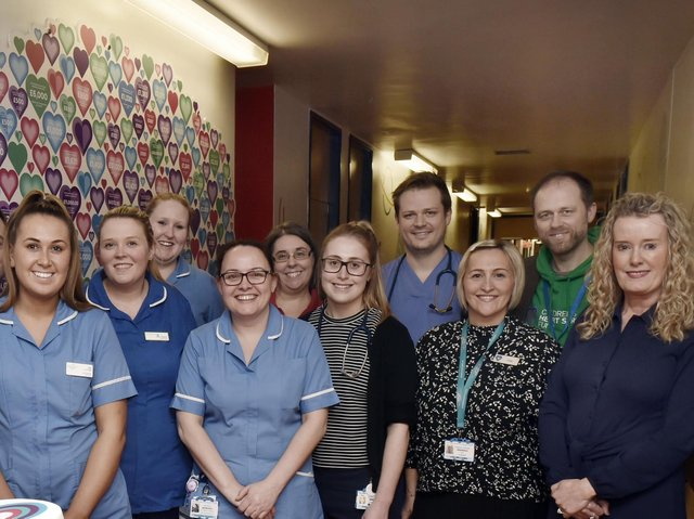 Clinical workers at the Congenital Heart Unit at Leeds General Infirmary, along with staff from the Children's Heart Surgery Fund, including CEO Sharon Milner, pictured far right. Picture: Steve Riding