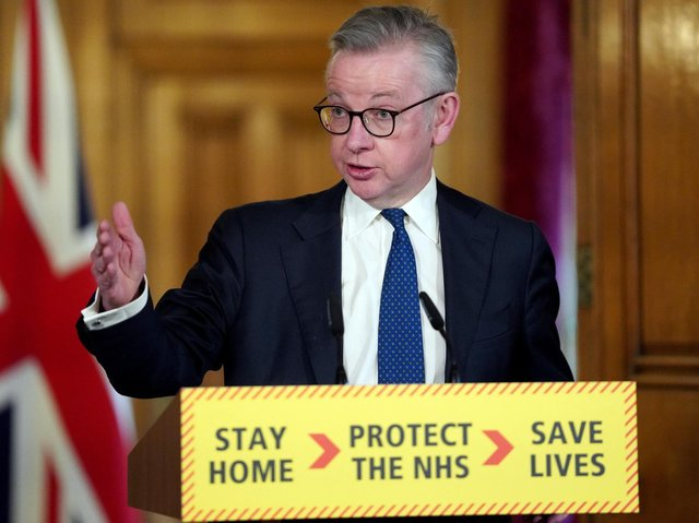 Minister for the Cabinet Office Michael Gove answering questions from the media via a video link during a media briefing in Downing Street. Photo: PA