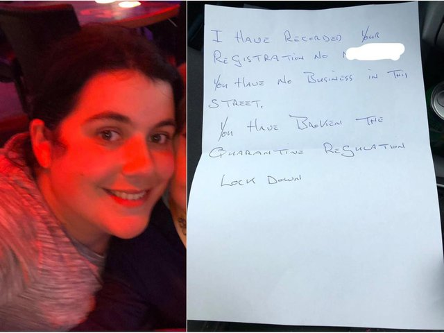 Left: Sarah Crossland and, right, the note left on her car