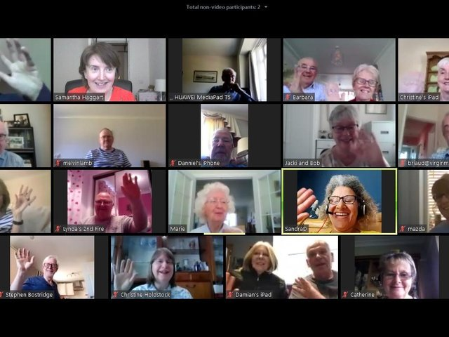 Members of the 100% Digital Leeds project staying in touch.  Top row: Jim Daley ,Samantha Haggart, Ernest Walker, Barbara and Michael Lloyd, Christine Bates,  Second row: David Smith, Melvin Lamb, Danny Buckley, Jackie Lawrence, Brian Sugden,  Third row: Shirley Vardy, Lind and Gerry Pitts, Marie Broadhead , Sandra Davis, Marion Smith,  Fourth row: Stephen Bostridge, Christine Holdstock, Damian & Diane Marsden, Catherine Heselwood.