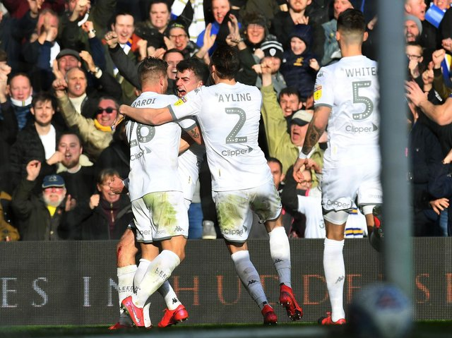 POLE POSITION: Leeds United lead the Championship currently and would almost certainly go up under any data model used to decide promotion.