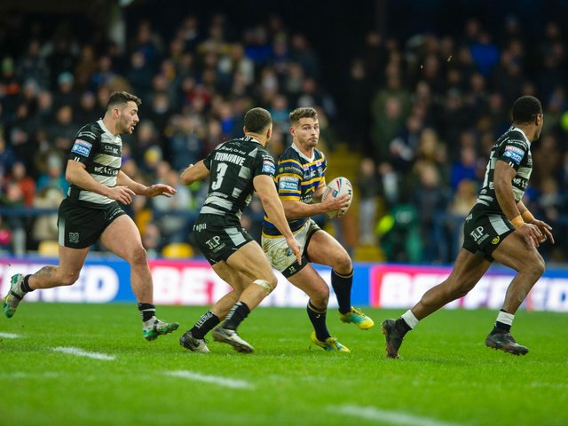 Stevie Ward on the ball in Rhinos' season-opener against Hull. Picture by Tony Johnson