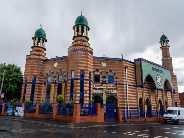 Makkah Mosque in Leeds, which would normally hold Friday prayers with around 1,000 people. Imams now conduct a live Facebook feed for worshippers