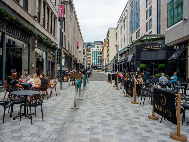 The new pedestrianised Greek Street. Photo: Leeds City Council.