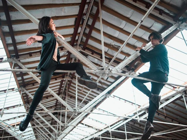 Roots sees Minju Kang and Lorenzo Trossello, who isolated as a couple through lockdown, perform in Salts Mill, Saltaire.