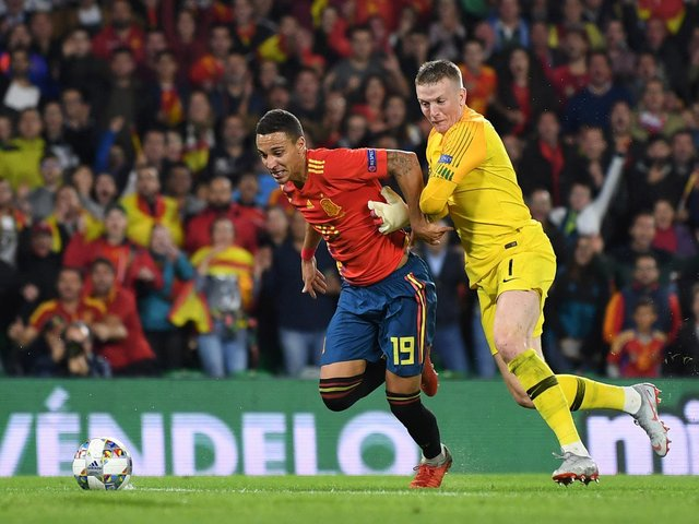NATIONS LEAGUE - Leeds United striker Rodrigo in action against England in the competition he and Spain will grace this week against Germany and Ukraine. Pic: Getty