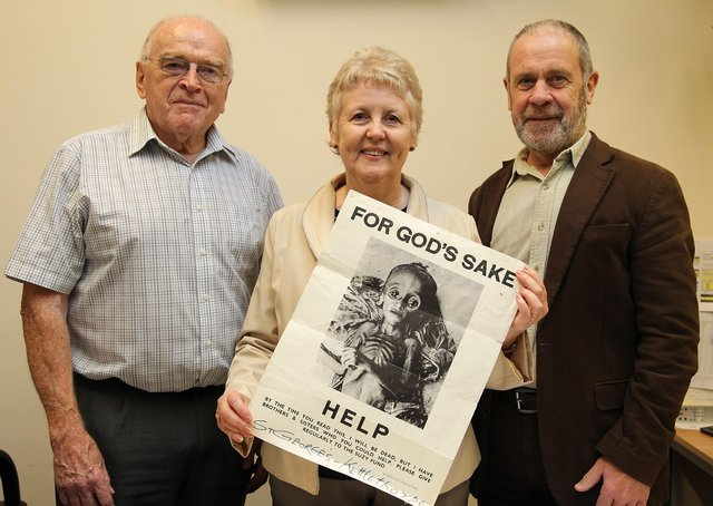 Suzy Fund founder Brian Hazell, left, with Paul and Monica Haley who is holding up an appeal poster for the humanitarian charity.