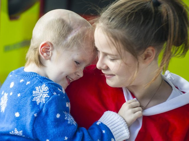Three-year-old Ellis Price pictured with his sister Caitlin during early Christmas celebrations for him on September 8.  Picture Tony Johnson