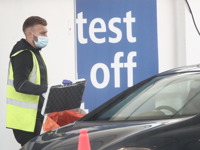 Staff working at a Coronavirus testing centre at Temple Green Park and Ride in Leeds (Photo: Danny Lawson/PA Wire)