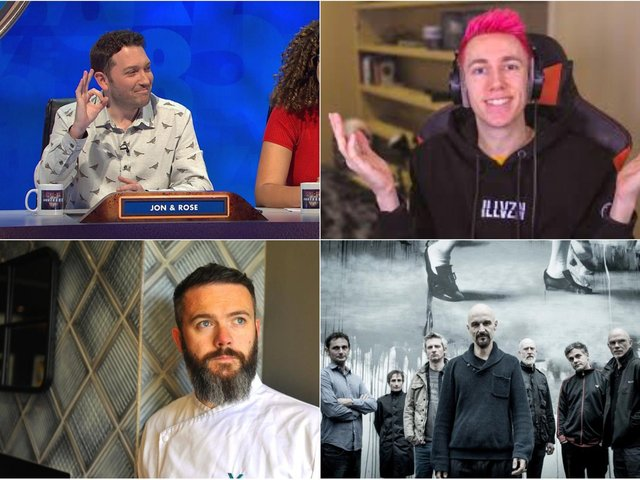 Top Left: John Richardson from Channel 4's 8 Out Of 10 Cats Does Countdown, Top right: Miniminter, who has 10 million Youtube followers