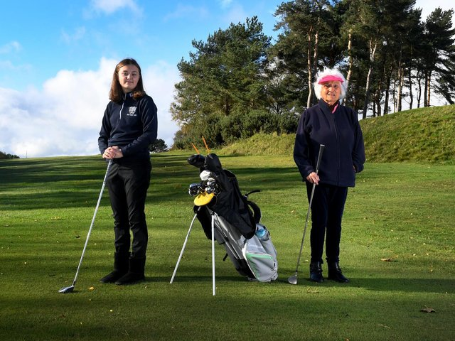 Myfany Wigdahl, 98, and 16-year-old Lily Dunn  at Sand Moor Golf Club.  Photo: Simon Hulme.