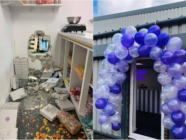 Thieves left a huge hole in the wall as they targeted the Garforth sweet shop