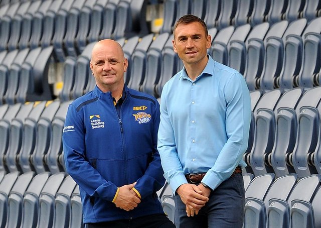 Leeds Rhinos director of rugby Kevin Sinfield, right, pictured with head coach Richard Agar. Picture: Simon Hulme.