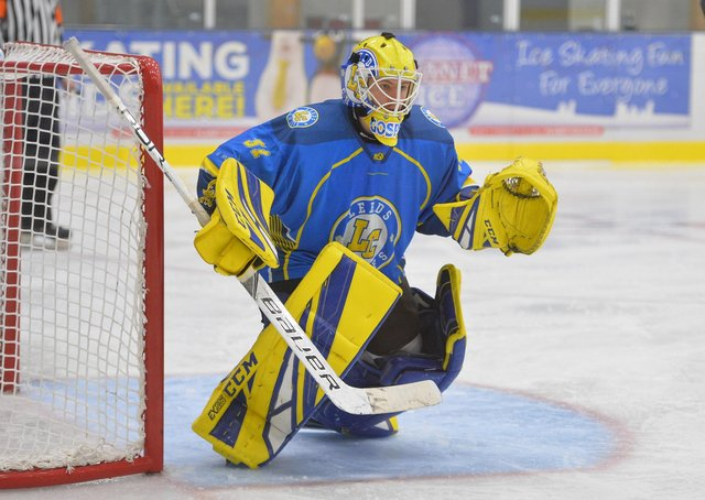 BRING IT BACK: Leeds Chiefs' netminder Sam Gospel, pictured in action against Hull Pirates last season. Picture: Dean Woolley.
