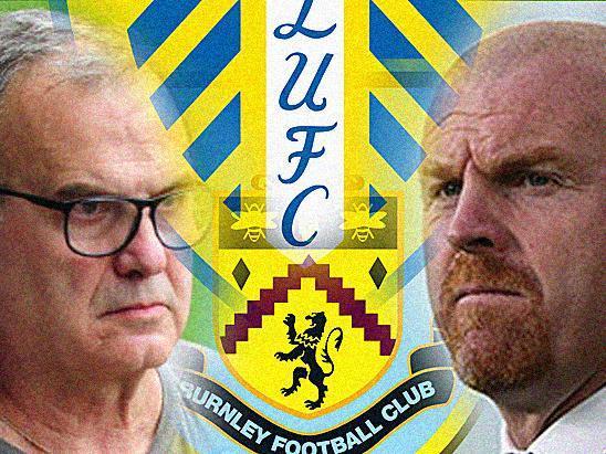 Leeds United head coach Marcelo Bielsa (L) and Burnley boss Sean Dyche (R).