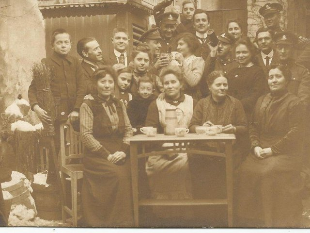 A Ronse family with English soldiers. It was taken by Theo Van Coppenolle of his family with English soldiers, probably at his home. PIC: Ronse History Society