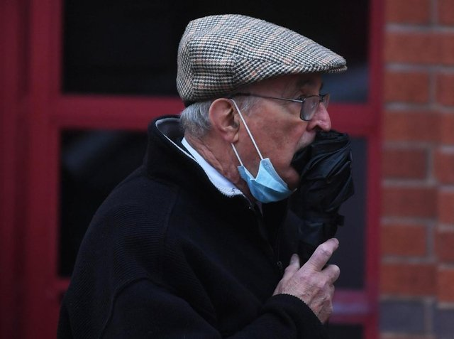 Father Patrick Smyth, pictured outside Leeds Magistrates' Court last month, is charged with offences of indecent assault.