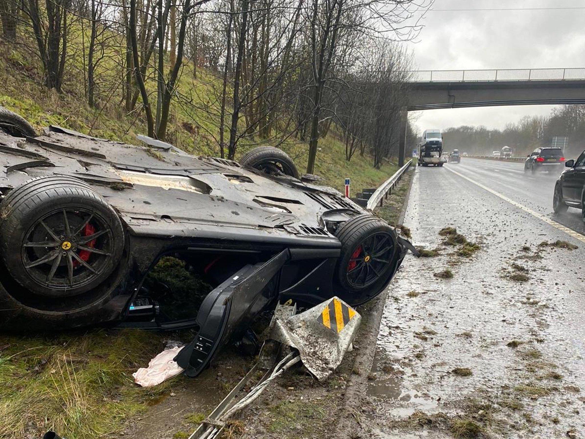 Shocking picture shows an overturned Ferrari after a crash on Leeds motorway