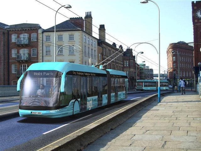 An artist's impression of the Leeds Trolleybus, which was scrapped in 2016.