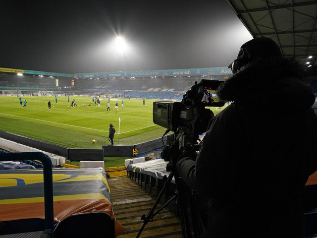 BACK UNDER THE LIGHTS: Leeds United will return to action with another evening match against Crystal Palace at Elland Road, above, on Monday. Photo by JON SUPER/POOL/AFP via Getty Images.