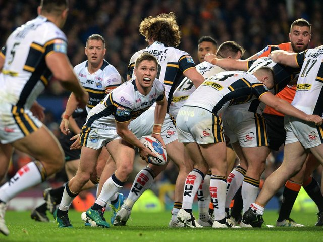 Rhinos set up an attack from a scrum during the 2017 Grand Final. Picture by Bruce Rollinson.