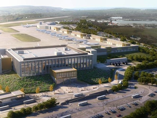 CGI images of what Leeds Bradford Airport could look like after expansion plans were approved in principle by the council.