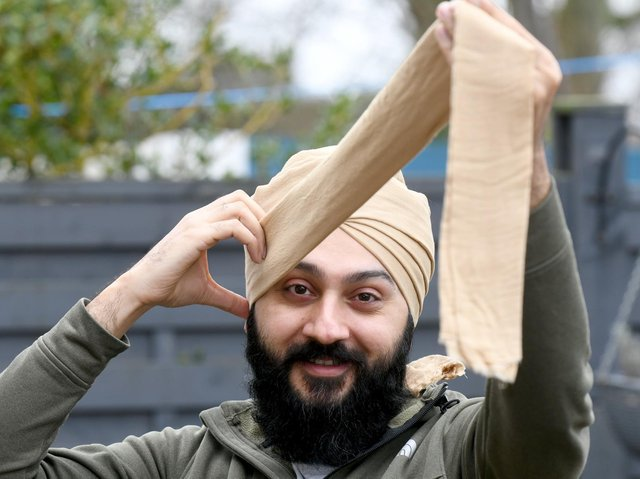 Father-of-two Sunny Osahn teaches his global audience on TiKTok all about Sikh culture and religion. One of his most popular videos shows him demonstrating how to tie a turban.