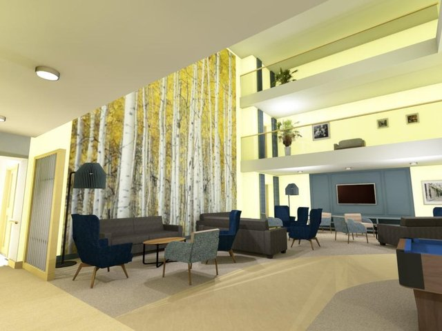 Amblers Orchard, which includes communal lounges for residents, dining areas and dementia-friendly interior design