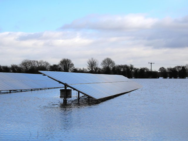 File photo  of solar panels in floodwater in East Cowick,Yorkshire