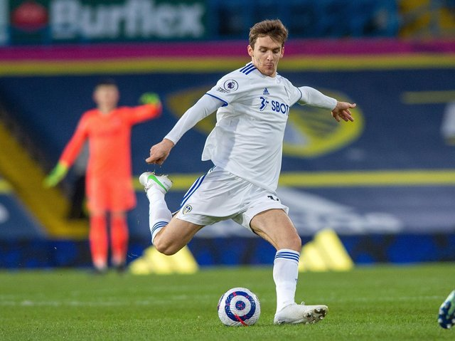 BACK IN BUSINESS: Leeds United's Spanish international centre-back Diego Llorente in Saturday evening's 1-0 defeat at home to Aston Villa. Picture by Bruce Rollinson.