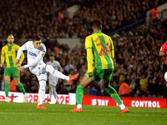 UNSTOPPABLE: Pablo Hernandez fires Leeds United ahead with his rocket of a shot after just 16 seconds as Leeds United defeat West Brom 4-0 at Elland Road on March 1, 2019. Picture by Bruce Rollinson.