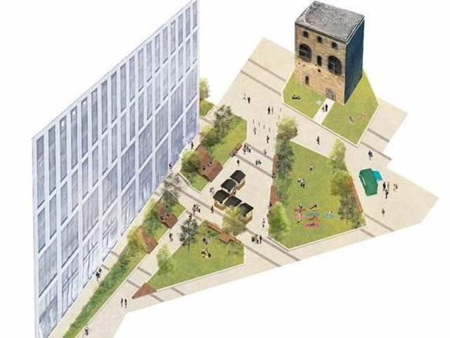 An artist's impression of Tower Square at Wellington Place