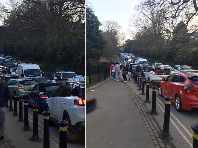 Traffic near Roundhay Park on Sunday (February 28).