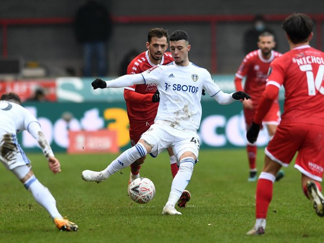 BACK IN TRAINING: Young Leeds United forward Sam Greenwood, pictured during his Whites debut in the third round FA Cup clash at Crawley Town. Photo by Charlotte Tattersall/Getty Images.