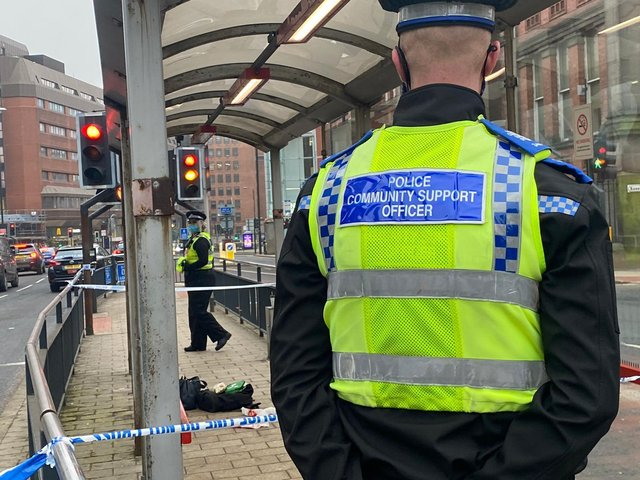 Police cordoned off part of the street in Leeds