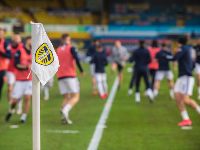 Leeds United warm-up at Elland Road. Pic: Bruce Rollinson