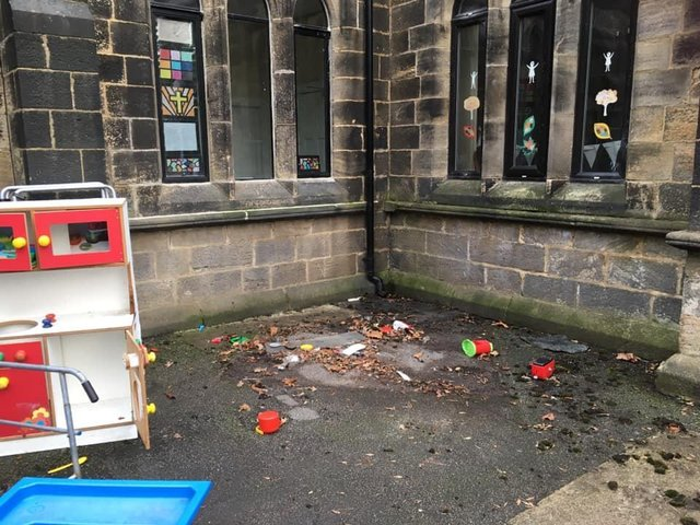 The spot where the children's playhouse sat