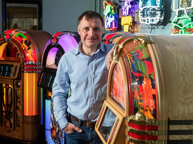 Chris Black, managing director of Sound Leisure Ltd in Cross Gates, Leeds.  The family business was established in 1978 and is best known for manufacturing classic jukeboxes.  Picture: Bruce Rollinson