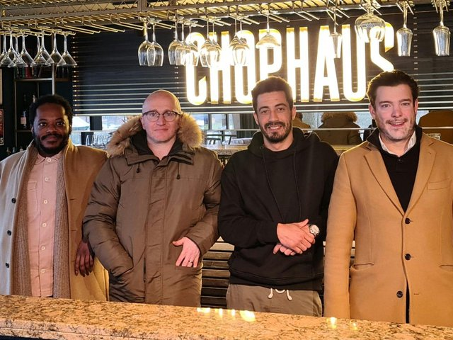 Co-owners of Chophaus restaurant (left to right) Marcel Leader, Chris Walsh, Dale Wynter and Yarl Christie