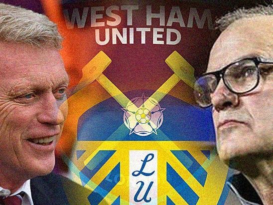 MONDAY NIGHT FOOTBALL: As West Ham United boss David Moyes, left, and Leeds United head coach Marcelo Bielsa, right, come face to face. Graphic by Graeme Bandeira.