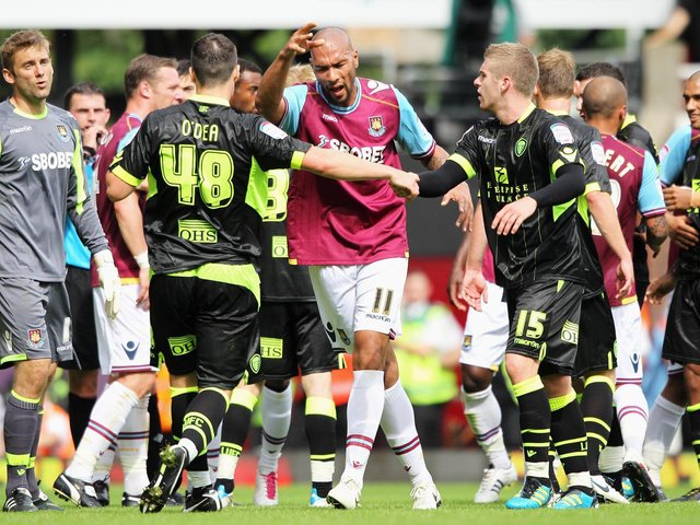 FLASH POINT - Darren O'Dea of Leeds United remonstrates with John Carew of West Ham United. Pic: Getty