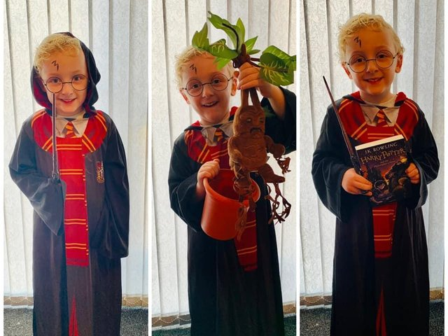 Henry dressed up as Harry Potter.