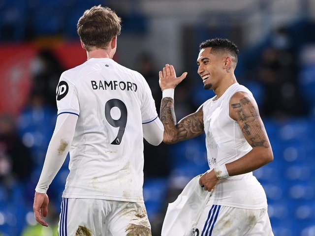 PUT IT THERE! Leeds United duo Raphinha, right, and Patrick Bamford, left, after Raphinha's free-kick scored in last month's 3-0 win at home to Southampton. Photo by Laurence Griffiths/Getty Images.